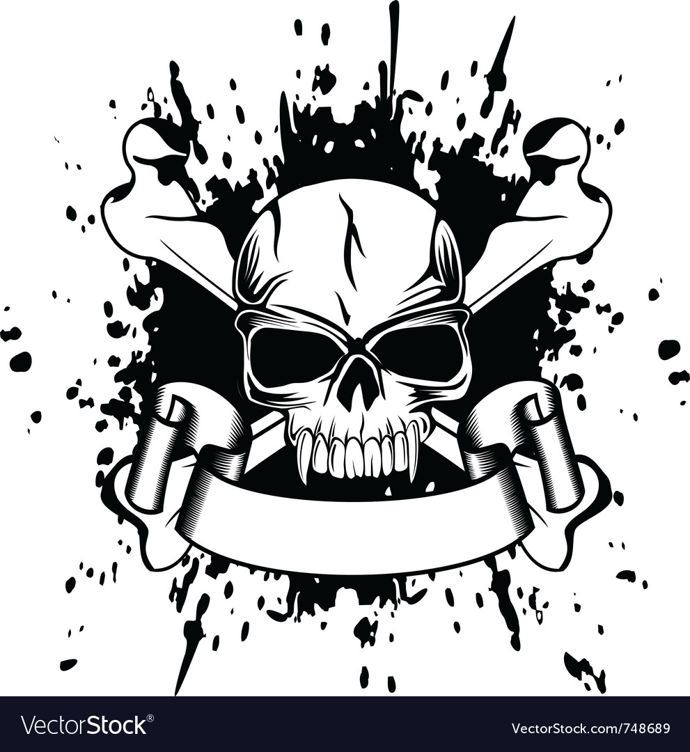 Skull and crossed bones vector | Price: 1 Credit (USD $1)