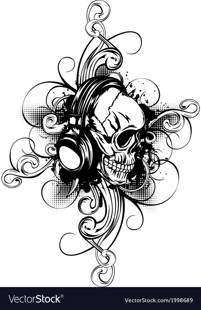 Skull in headphones and patterns vector | Price: 1 Credit (USD $1)