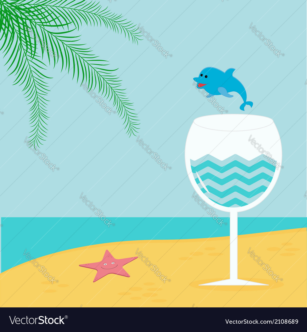 Summer beach background with palm star cocktail vector | Price: 1 Credit (USD $1)