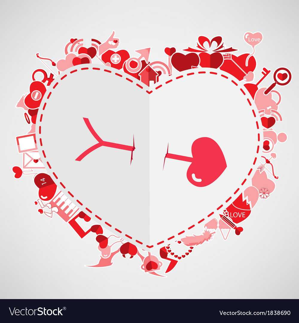 Arrow and heart red valentines day background vector | Price: 1 Credit (USD $1)