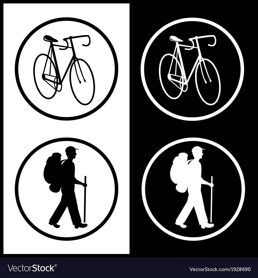 Bicycle and traveller icons vector | Price: 1 Credit (USD $1)