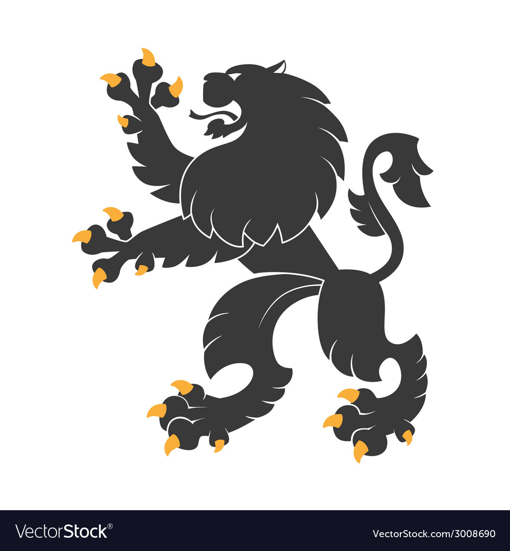 Black heraldic lion vector | Price: 1 Credit (USD $1)