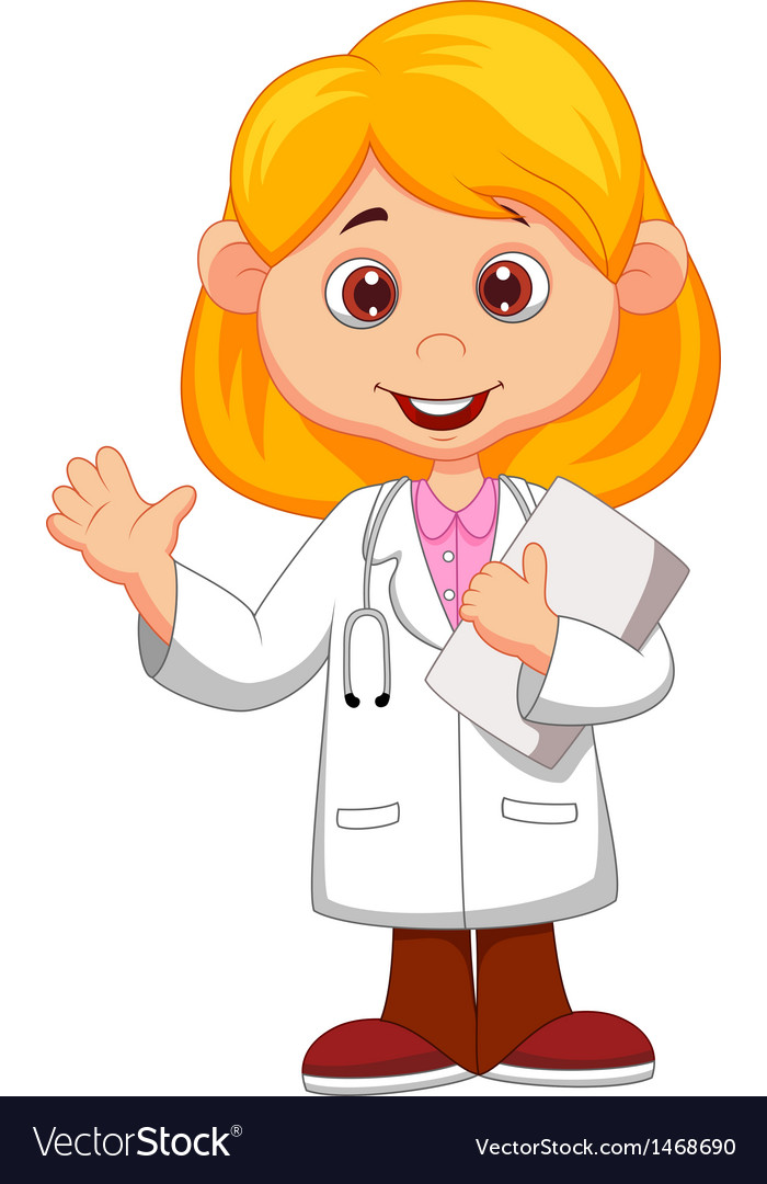 Cute little female doctor cartoon waving hand vector | Price: 1 Credit (USD $1)