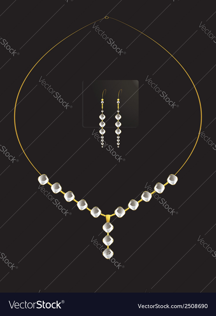 Elegant diamond necklace set vector | Price: 1 Credit (USD $1)