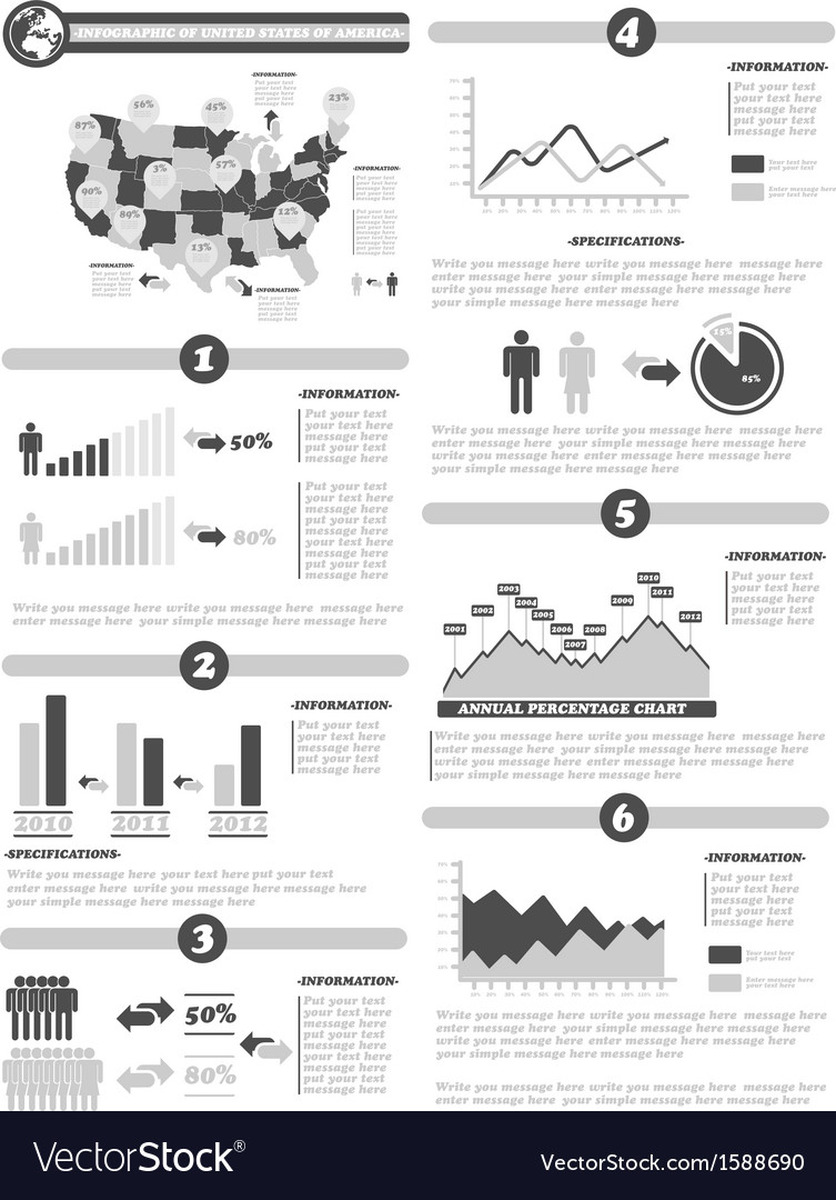 Infographic demographics of states of america gray vector | Price: 1 Credit (USD $1)