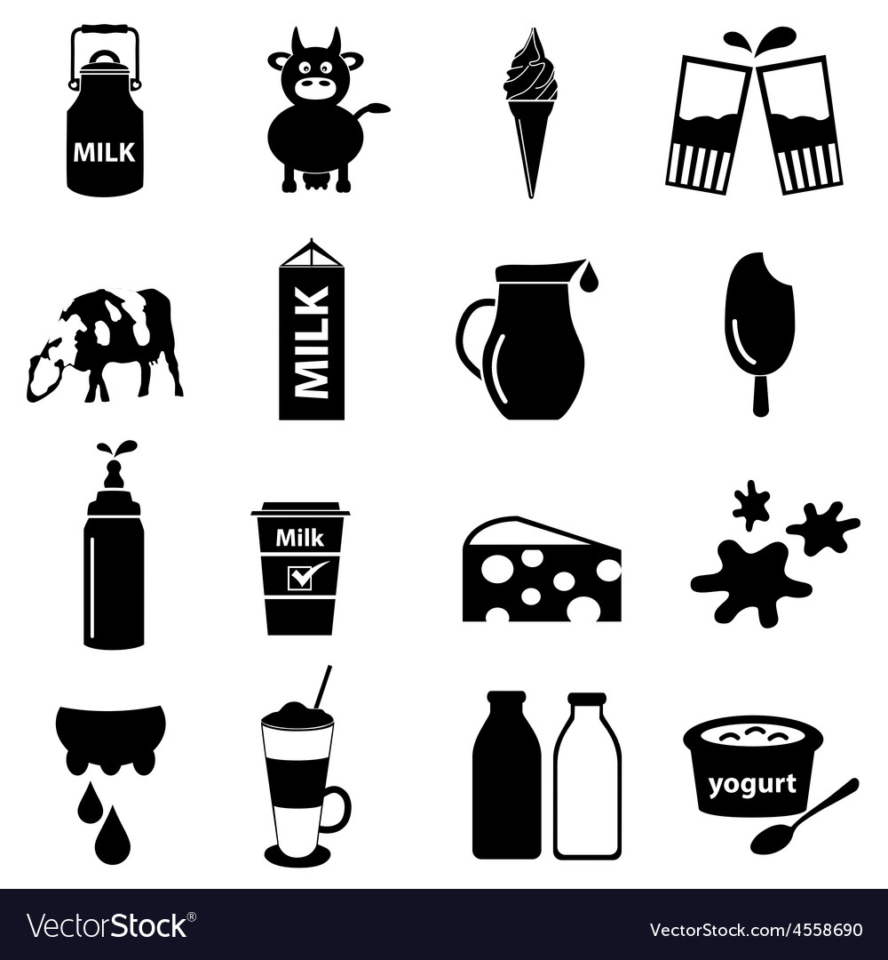 Milk and milk product theme icons set eps10 vector | Price: 1 Credit (USD $1)