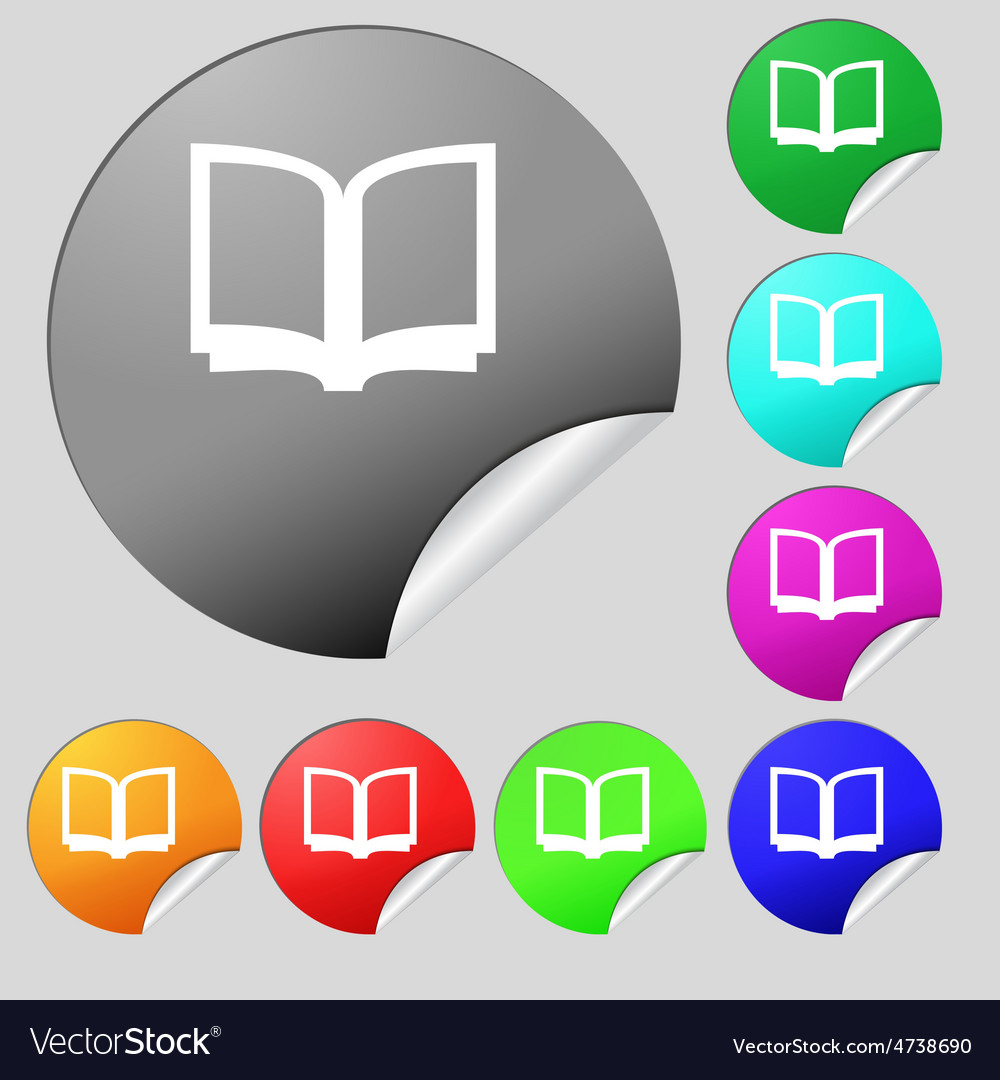 Open book icon sign set of eight multi-colored vector | Price: 1 Credit (USD $1)