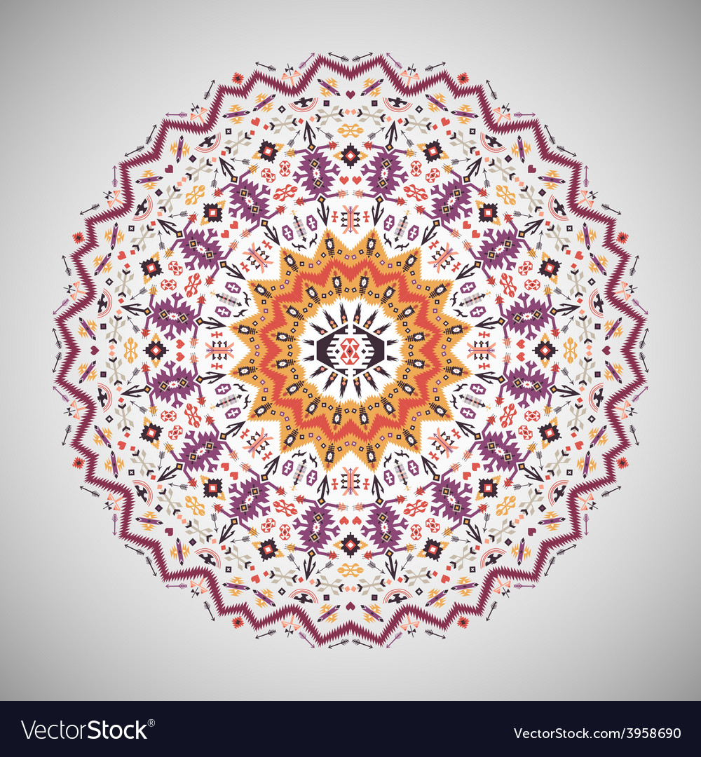 Ornamental round colorful geometric pattern in vector | Price: 1 Credit (USD $1)