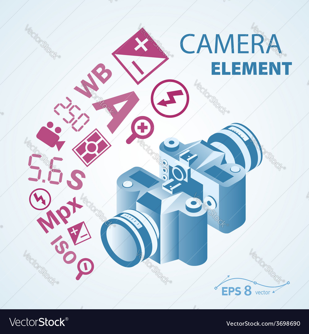 Photo camera icon element vector | Price: 1 Credit (USD $1)