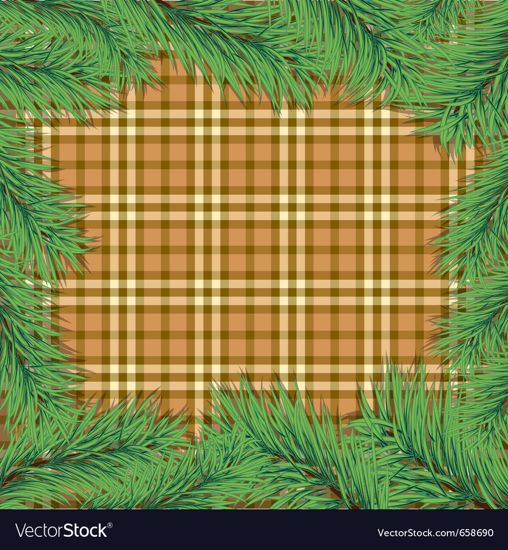Scottish background with christmas tree branch vector | Price: 1 Credit (USD $1)