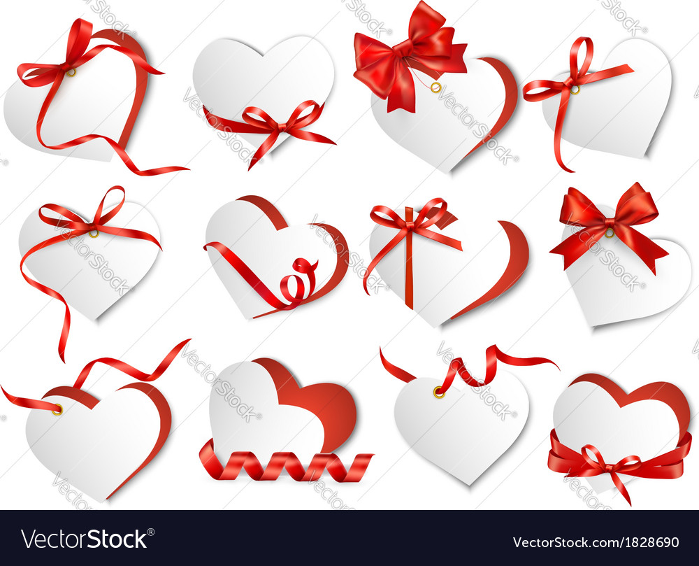 Set of beautiful gift cards with red gift bows and vector | Price: 1 Credit (USD $1)