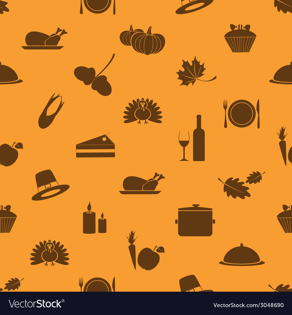 Thanksgiving icons set seamless autumn pattern vector | Price: 1 Credit (USD $1)