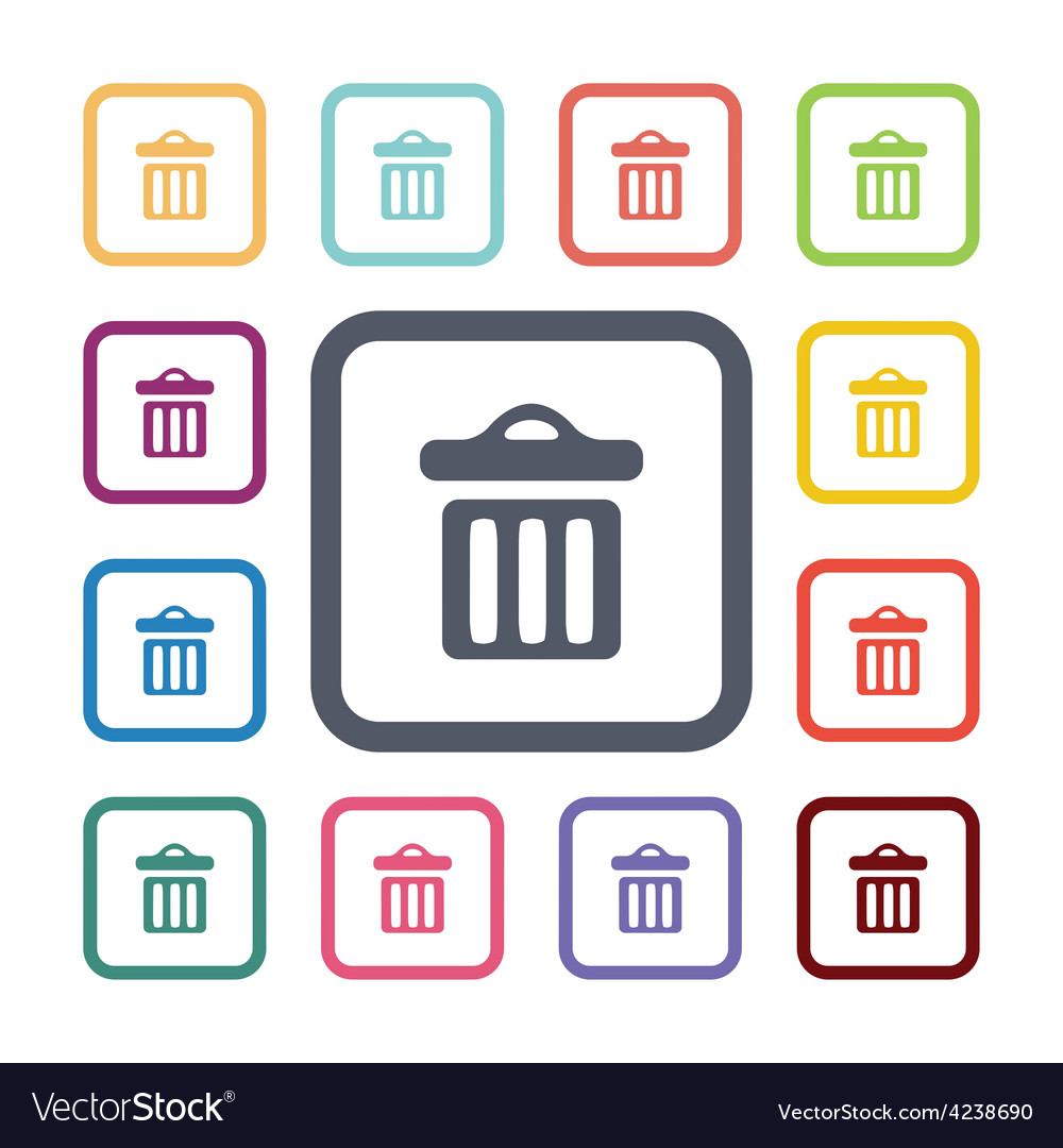 Trash bin flat icons set vector | Price: 1 Credit (USD $1)