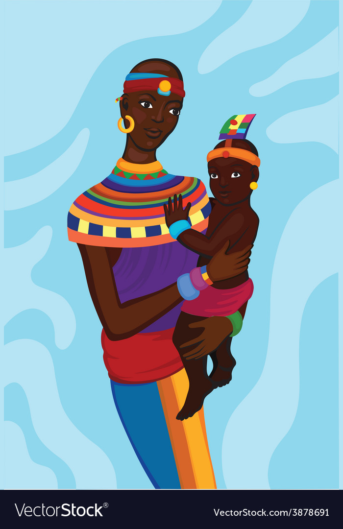 African woman with her small child vector | Price: 1 Credit (USD $1)