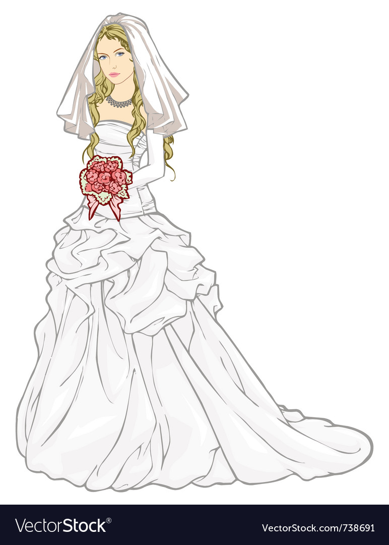 Bride with a wedding bouquet vector | Price: 3 Credit (USD $3)