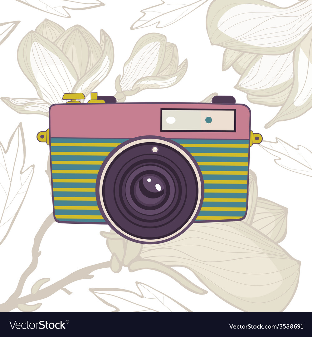 Elegant vintage camera on floral background vector | Price: 1 Credit (USD $1)
