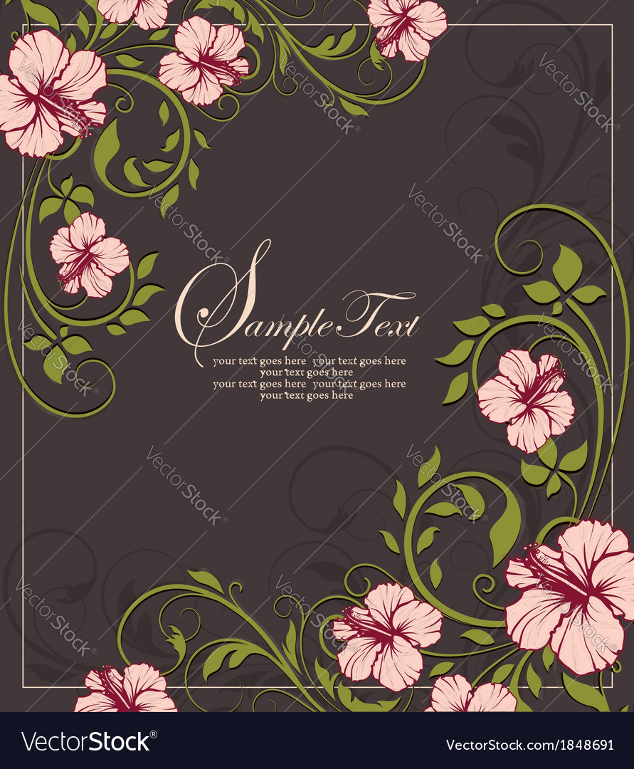 Elegant vintage floral invitation card vector | Price: 1 Credit (USD $1)