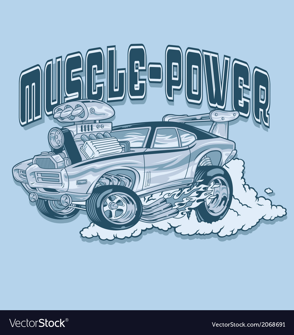 Retro style muscle car vector | Price: 1 Credit (USD $1)