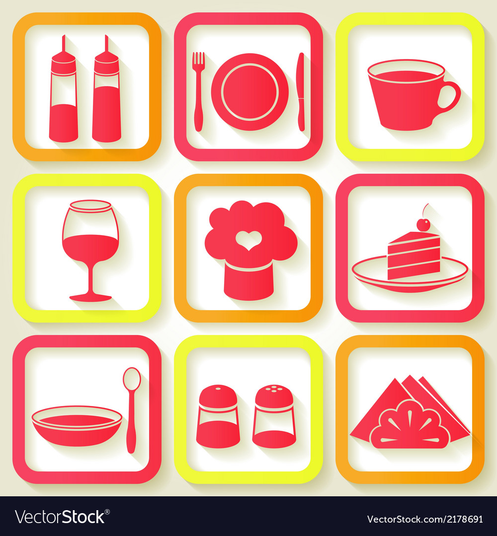 Set of 9 retro icons of kitchen utensils vector | Price: 1 Credit (USD $1)