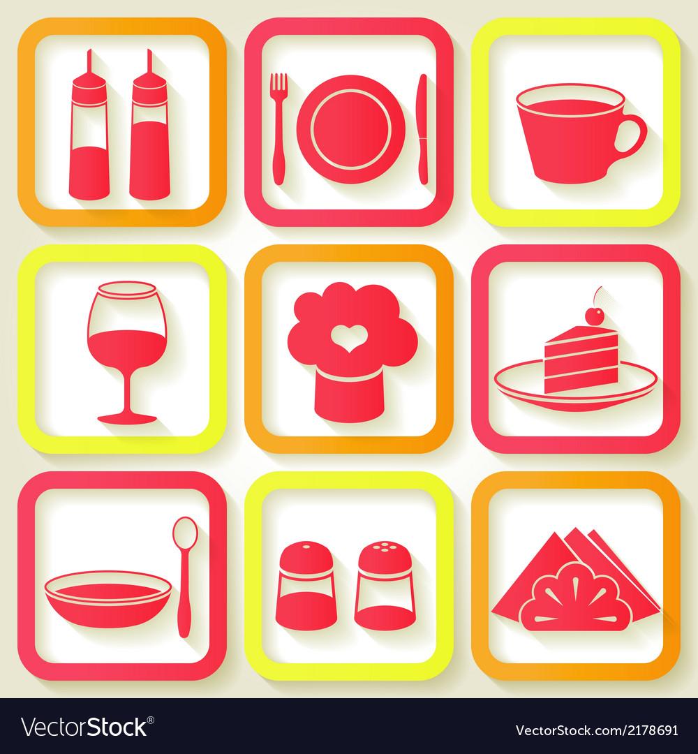 Set of 9 retro icons of kitchen utensils vector | Price: 1 Credit (USD $1)