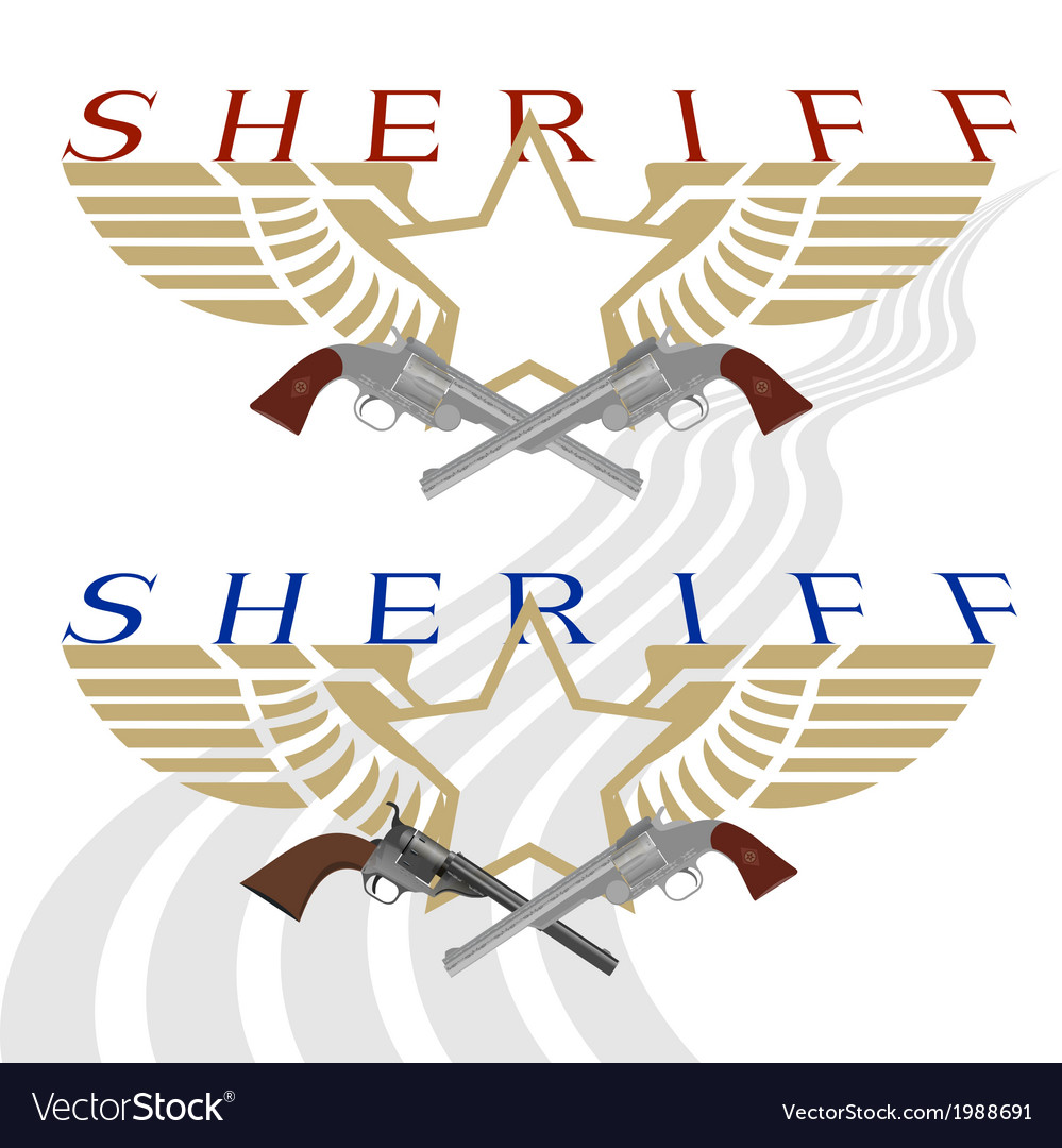 Sheriff badge and gun vector | Price: 1 Credit (USD $1)