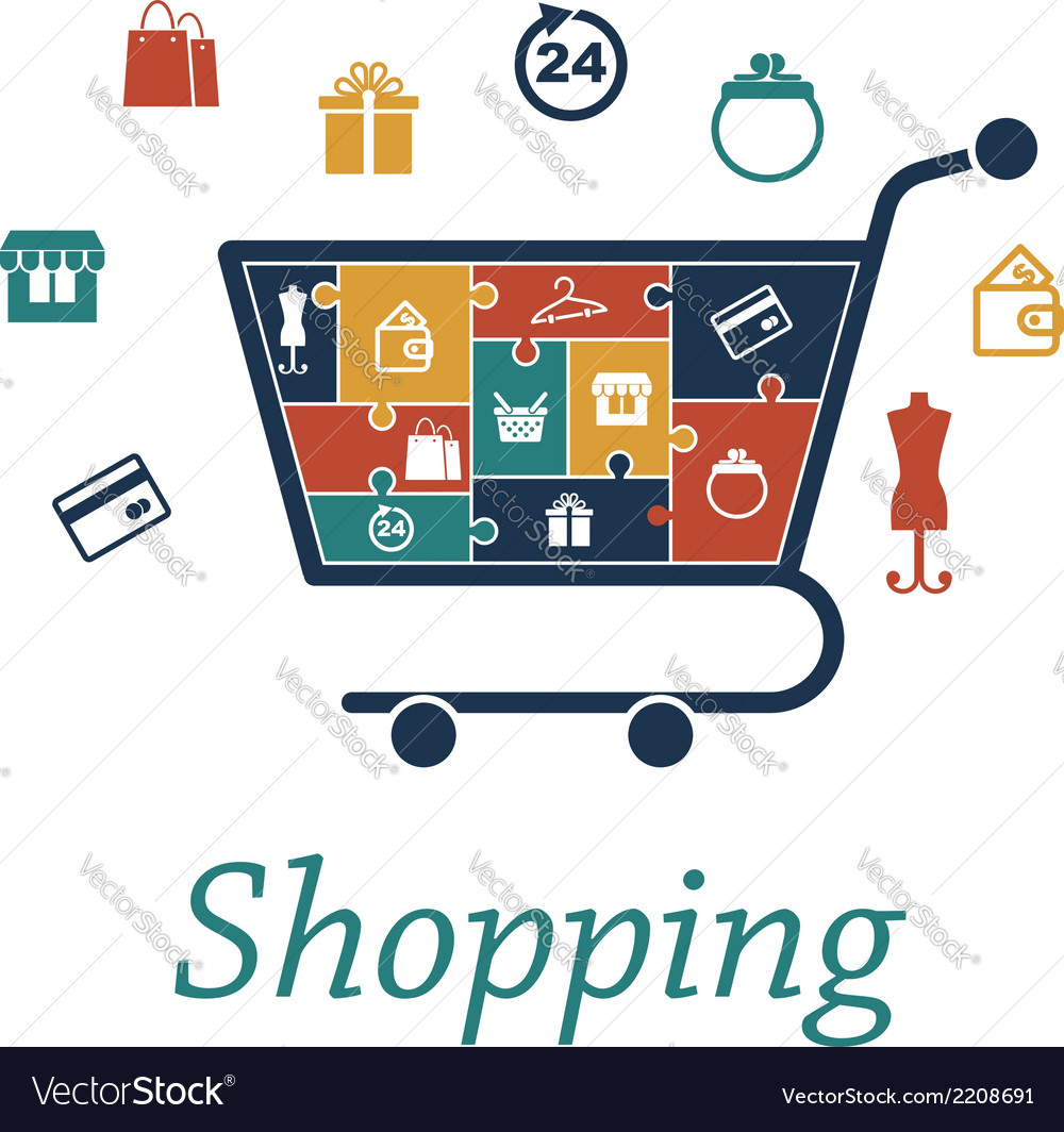 Shopping concept puzzles with a cart and icons vector | Price: 1 Credit (USD $1)