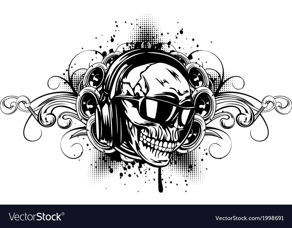 Skull in headphones sunglasses and patterns vector | Price: 1 Credit (USD $1)