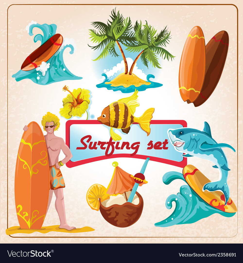 Surfing elements set vector | Price: 1 Credit (USD $1)