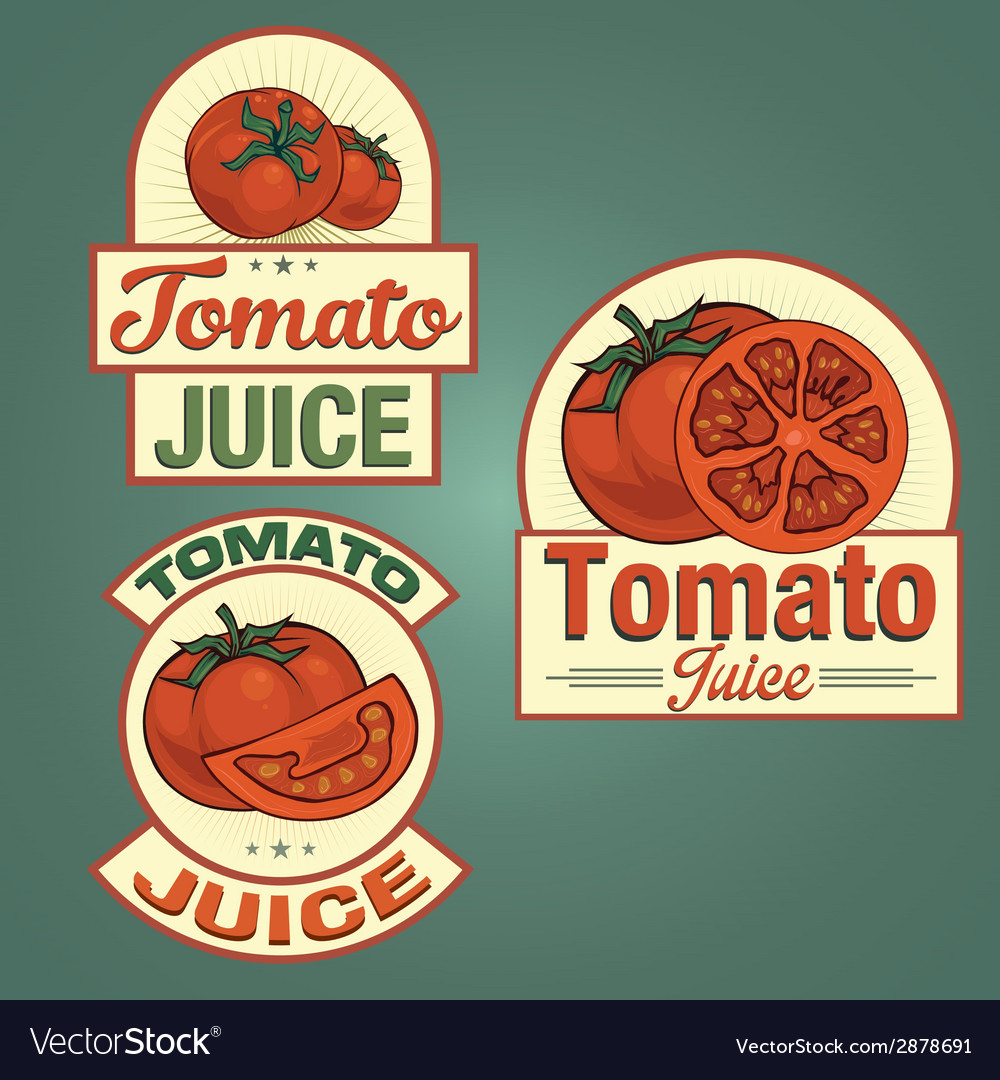 Tomato juice labels set vector | Price: 1 Credit (USD $1)