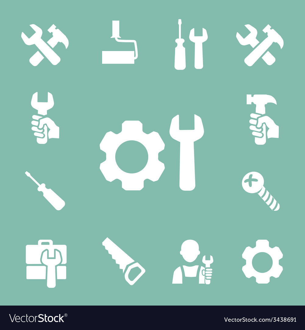 Working tools isolated icons set of hammer wrench vector | Price: 1 Credit (USD $1)