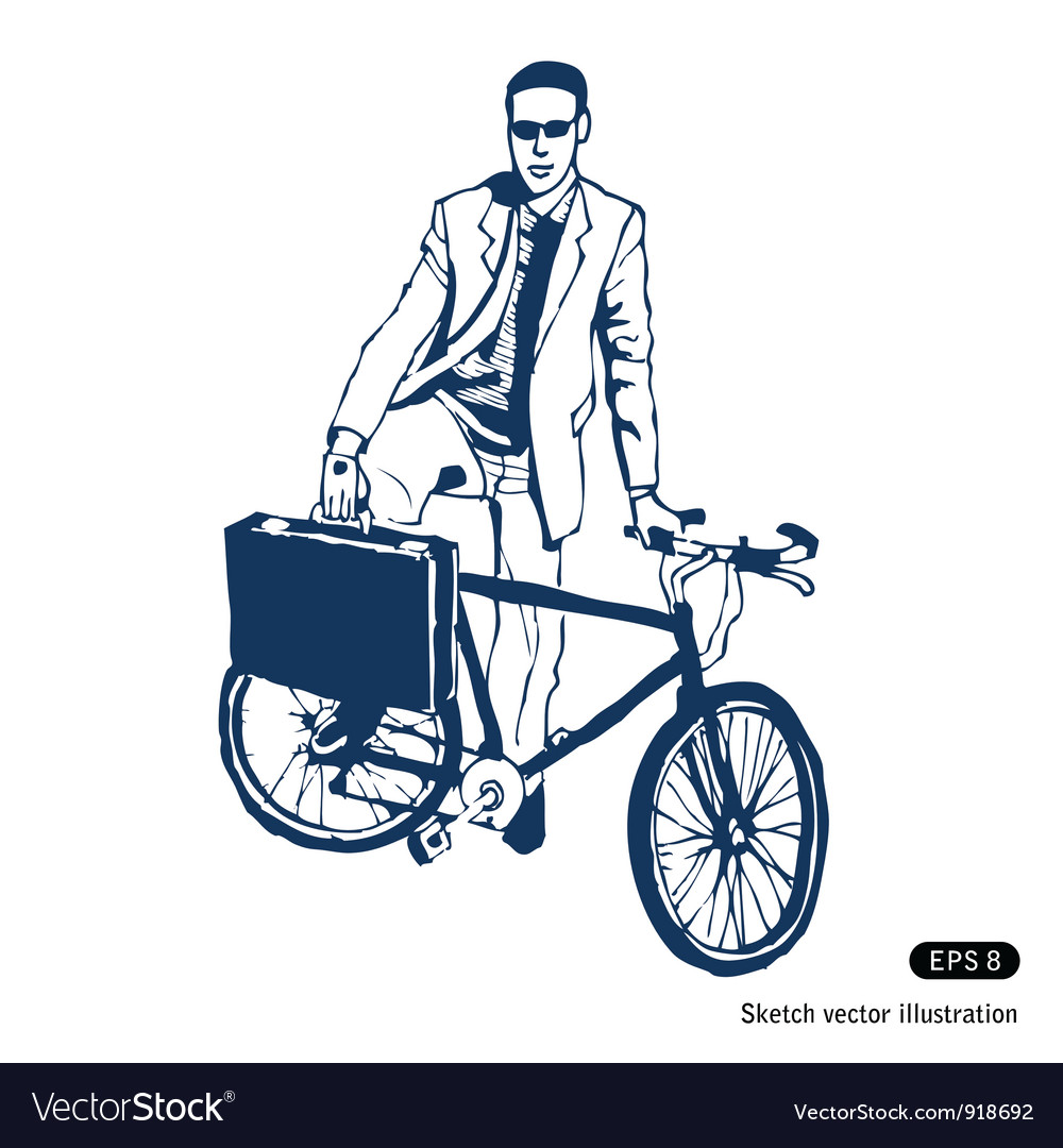 Businessman with his case and bike vector | Price: 1 Credit (USD $1)