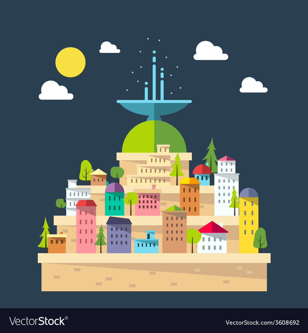 Flat design of fountain city vector   Price: 1 Credit (USD $1)
