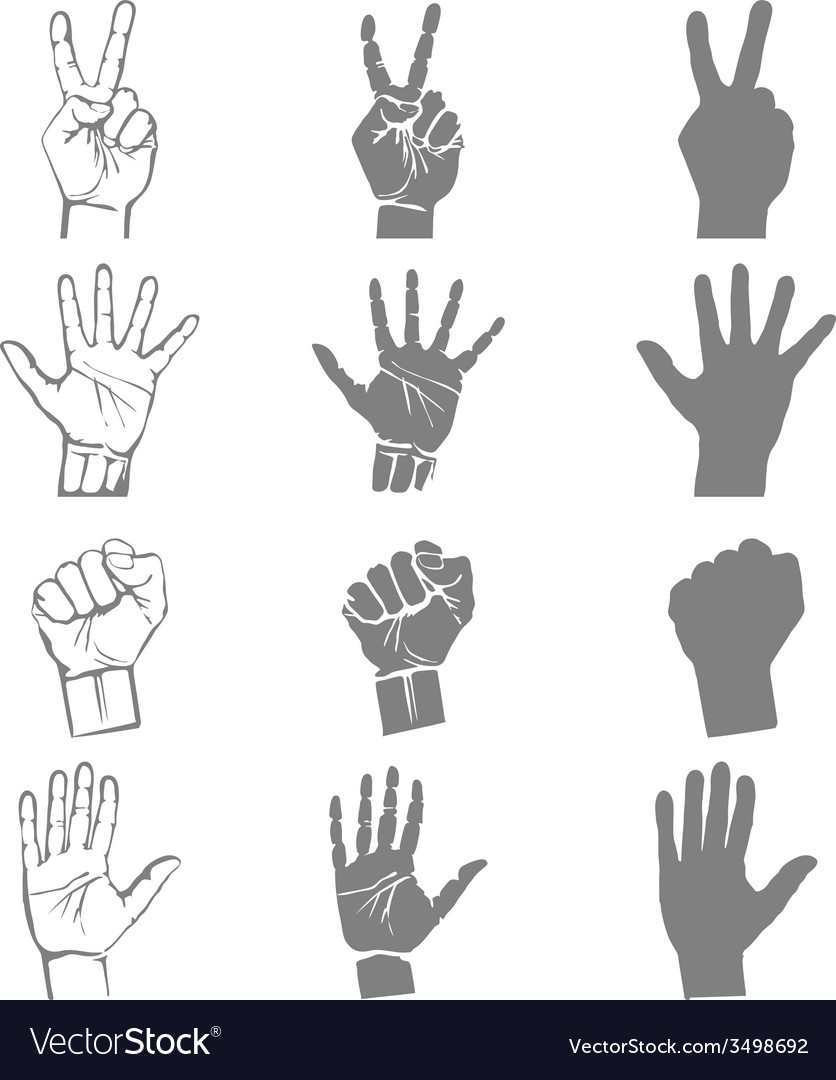 Hands holding protect giving gestures icons set vector | Price: 1 Credit (USD $1)