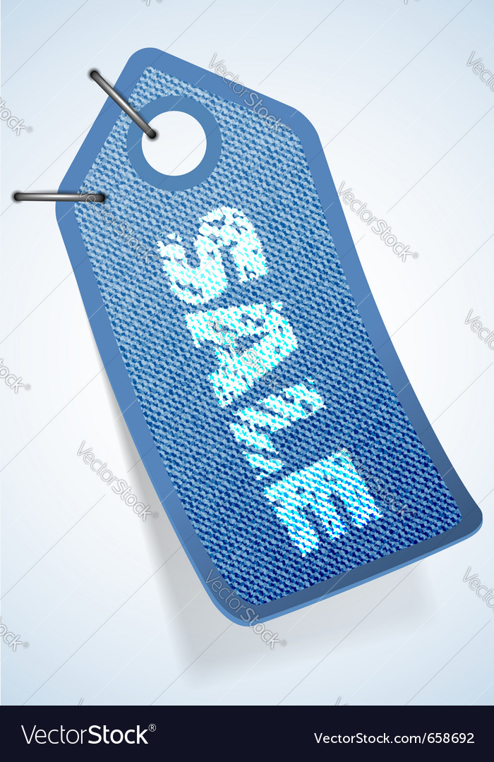 Jeans tag with sale text vector   Price: 1 Credit (USD $1)