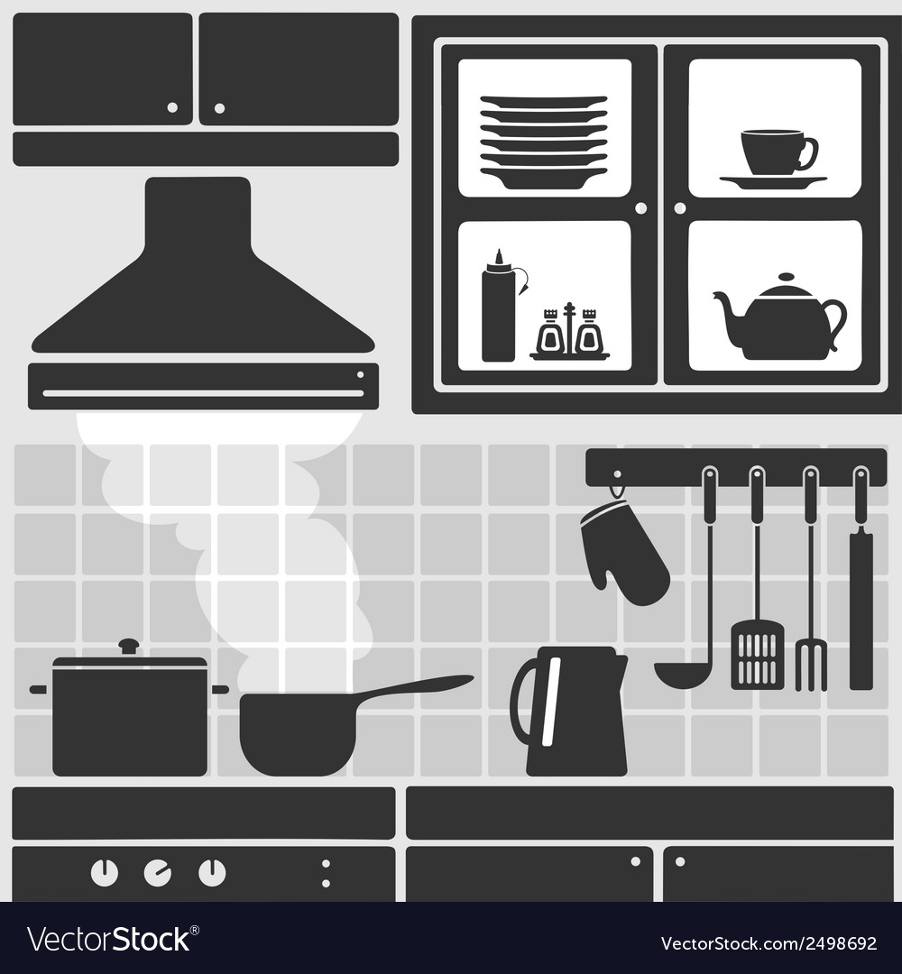 Kitchen in apartment vector | Price: 1 Credit (USD $1)