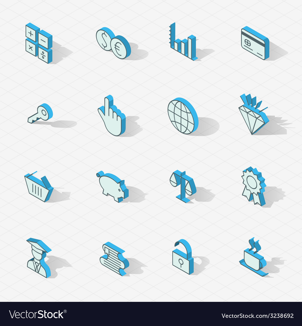 Light isometric flat design icon set vector | Price: 1 Credit (USD $1)