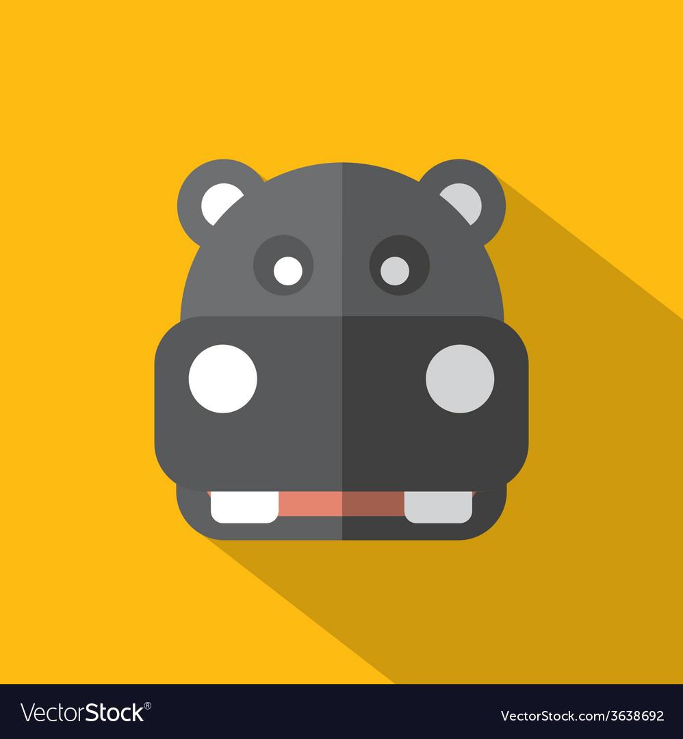 Modern flat design hippopotamus icon vector | Price: 1 Credit (USD $1)