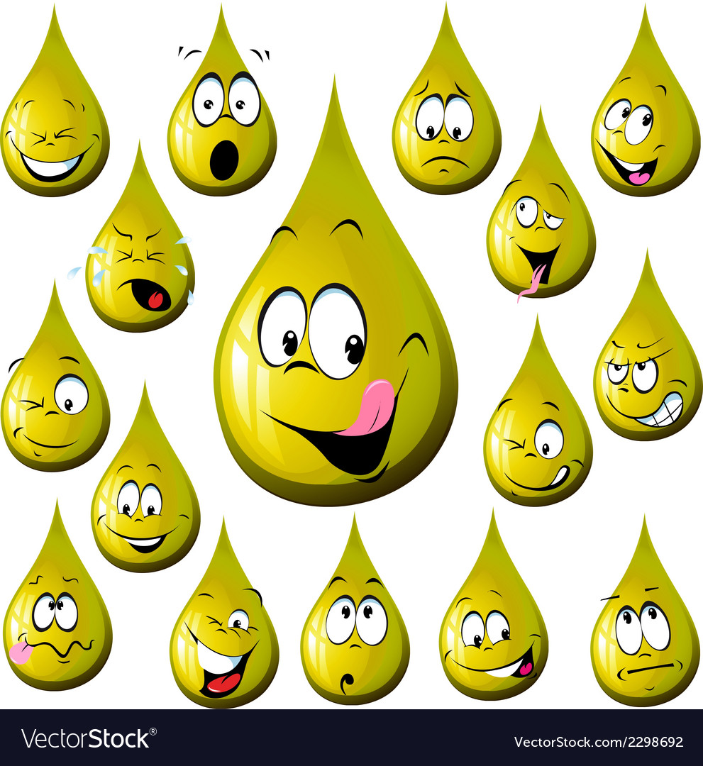 Oil drop cartoon with many expression vector | Price: 1 Credit (USD $1)