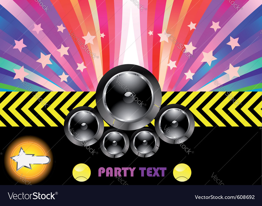 Party flyer with rainbow vector | Price: 1 Credit (USD $1)