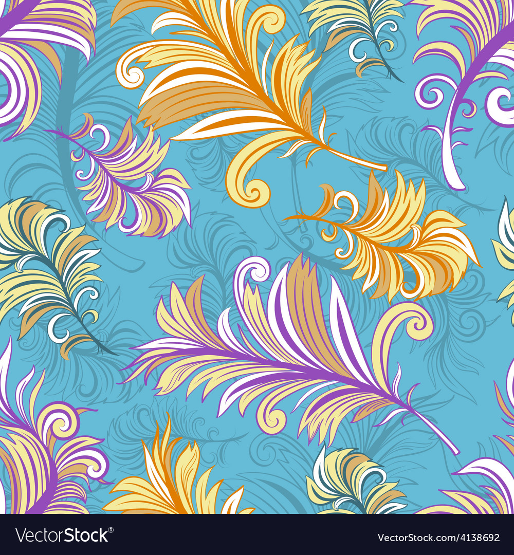 Pattern with colored abstract feathers vector