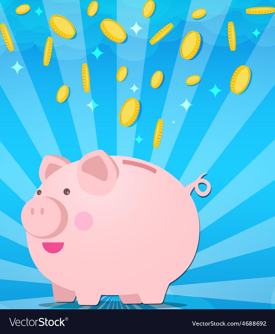 Piggy bank on sunburt and splash coin of money vector | Price: 1 Credit (USD $1)