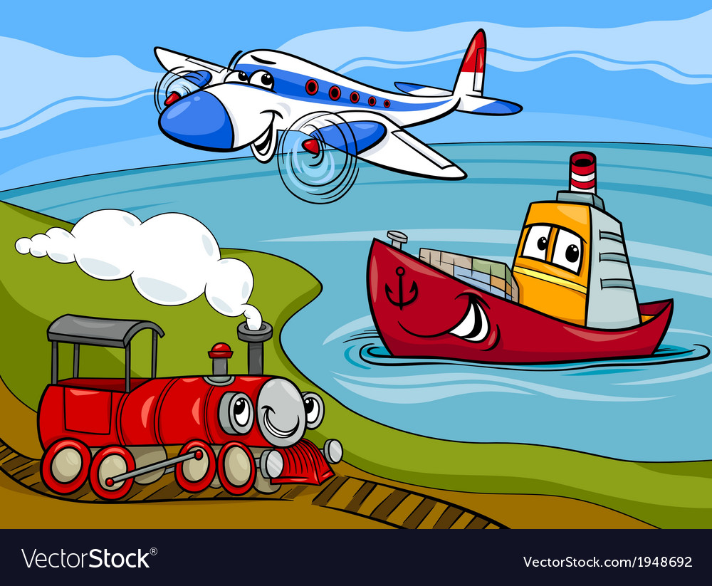 Plane ship train cartoon vector   Price: 1 Credit (USD $1)
