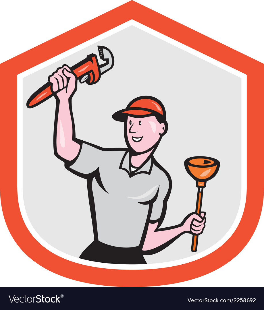 Plumber wielding wrench plunger cartoon vector | Price: 1 Credit (USD $1)