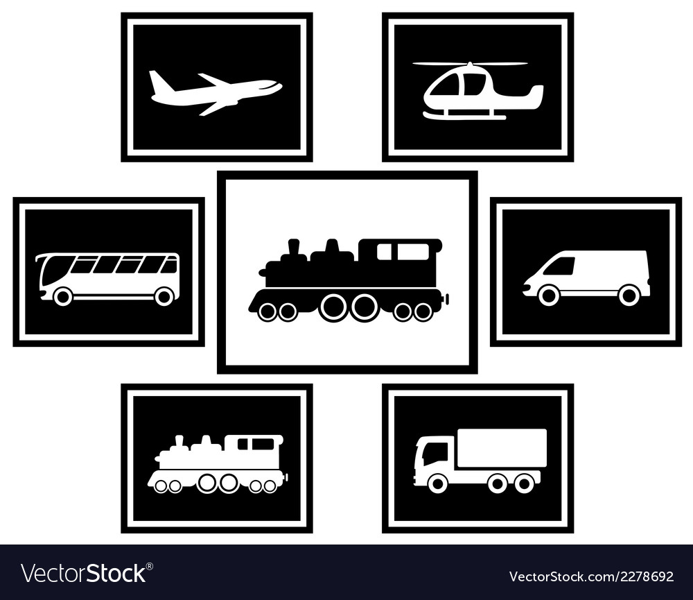 Set cargo and freight transport icons vector | Price: 1 Credit (USD $1)