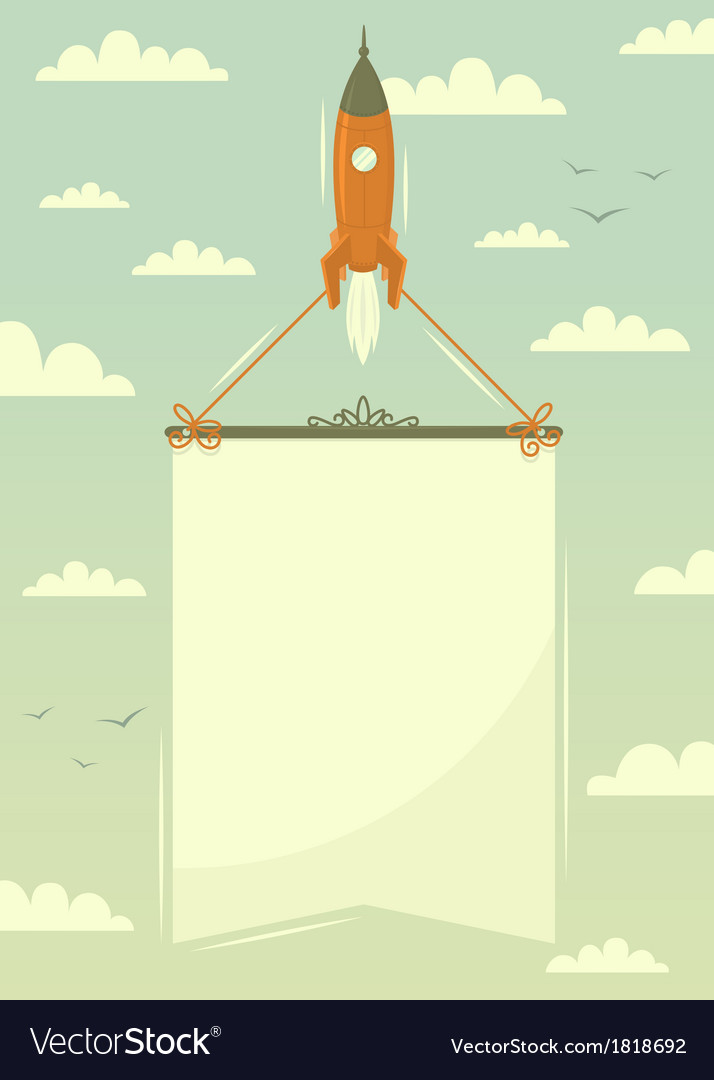 Space rocket with banner vector | Price: 1 Credit (USD $1)