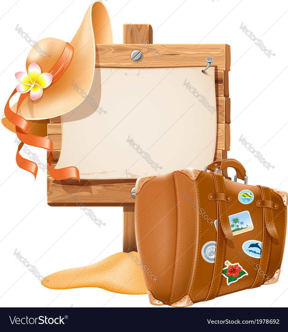 Suitcase and hat vector   Price: 3 Credit (USD $3)