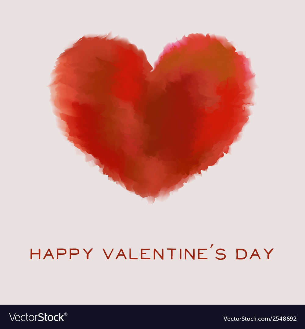 Valentines day card with watercolor heart and text vector | Price: 1 Credit (USD $1)