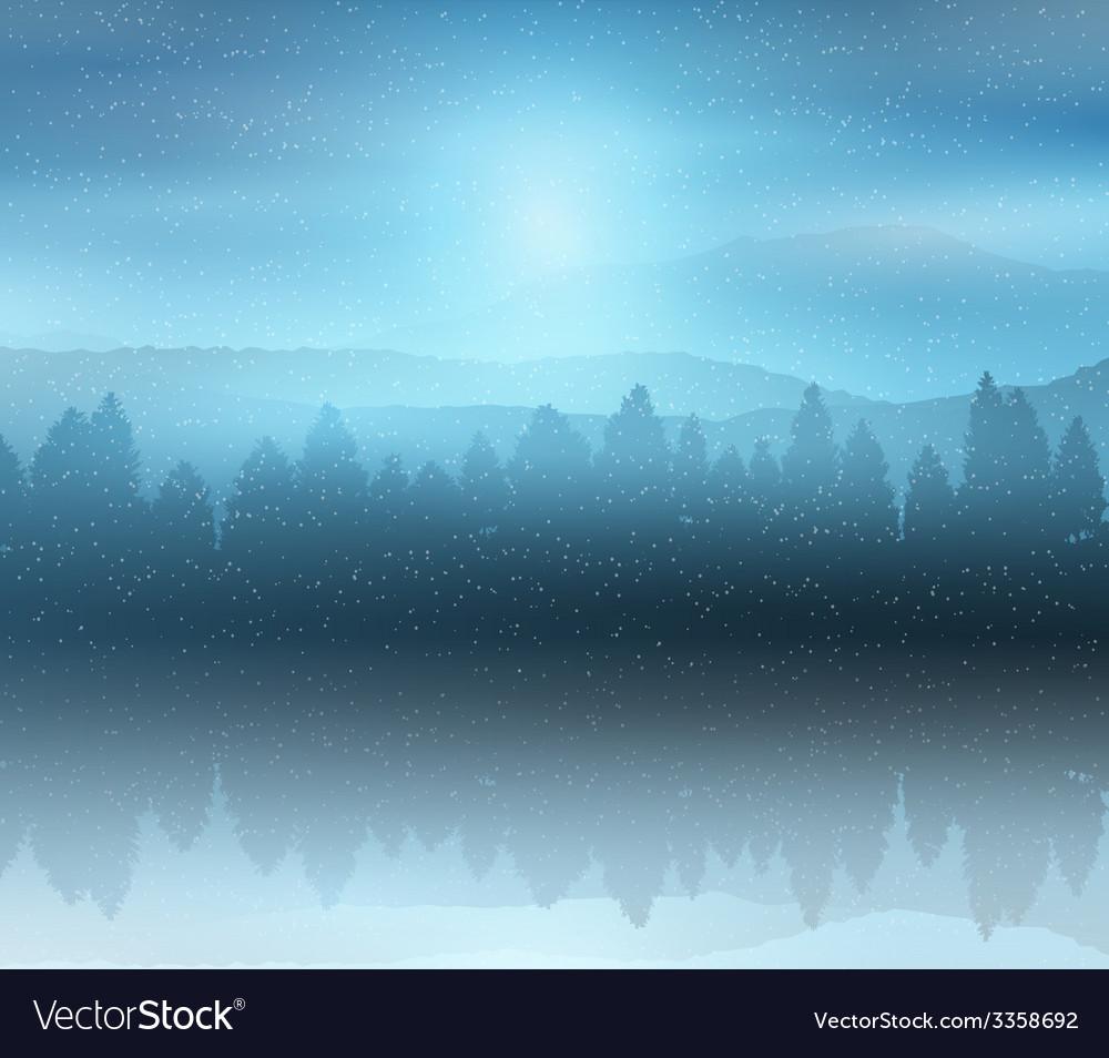 Winter forest landscape background vector | Price: 1 Credit (USD $1)