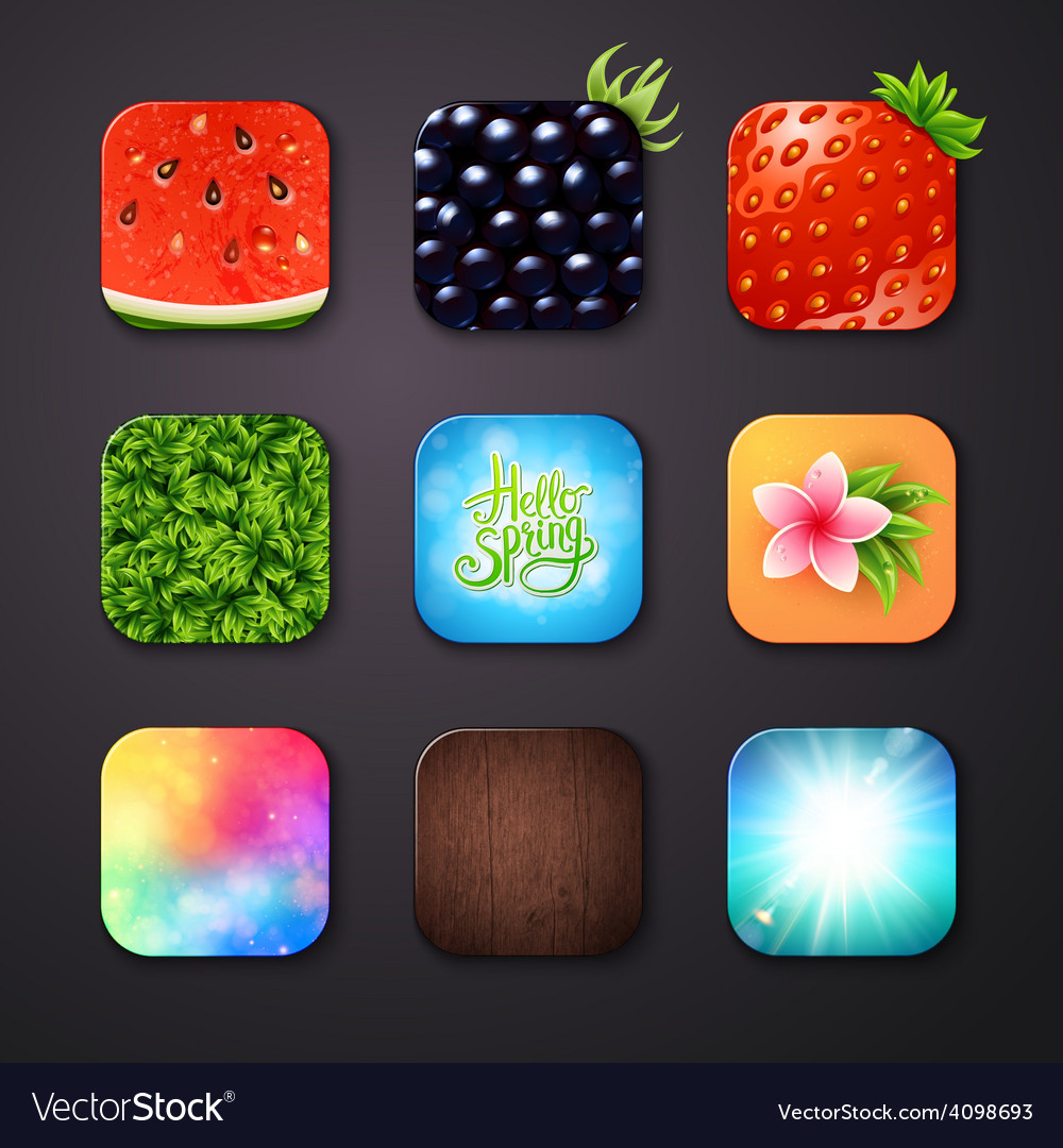 Attractive square buttons with different designs vector | Price: 1 Credit (USD $1)