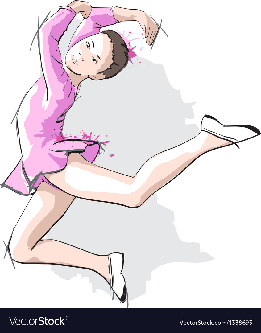 Ballerina little girl in a pink dress and pointe vector | Price: 3 Credit (USD $3)